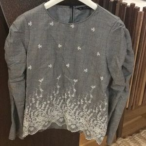Zara Basic Collection Embroidered Top S